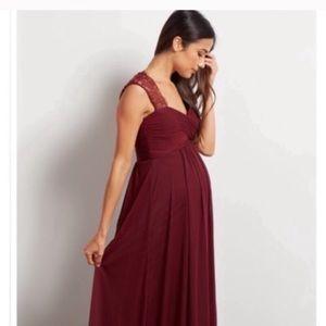 Pink Blush burgundy maternity dress lace maxi NWT